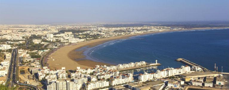 Agadir - Vy över staden och kusten