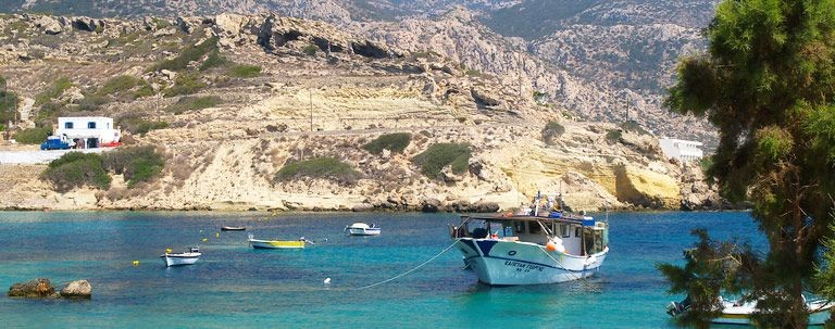 Symi i Grekland, fiskebåtar