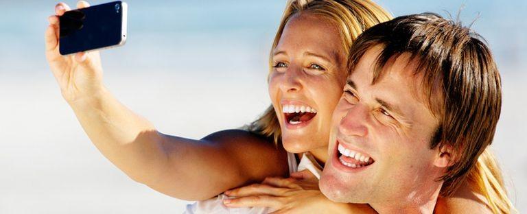 Selfie på stranden i Spanien