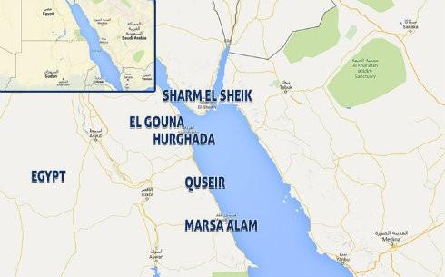 Kort over Rødehavet og Egypten