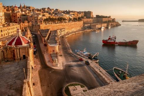 Malta - Tidig morgon vid hamnen i Valletta