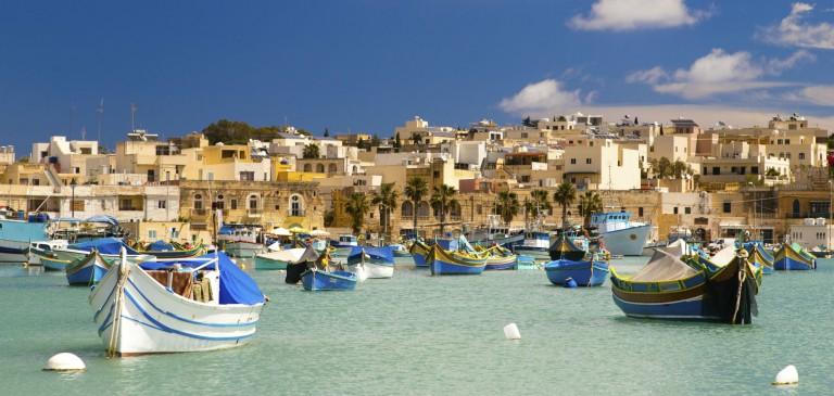 Malta - Vacker vi över hamnen i Marsaxlokk