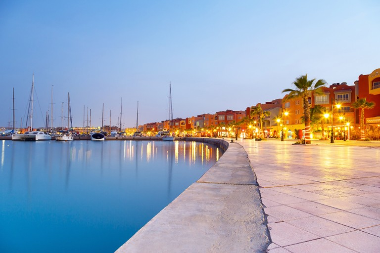 Hurghada Marina at sunset in Egypt; Shutterstock ID 138801404