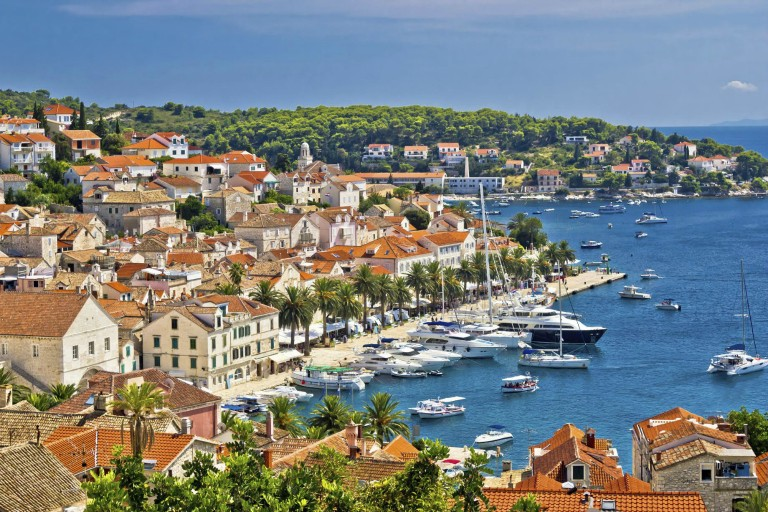 Yachting waterfront of Hvar island