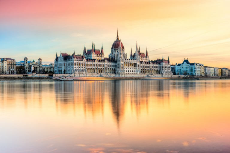 Hungarian Parliament at sunset, Budapest, Hungary.